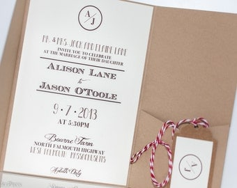 Monogram Wedding Invitation, rustic wedding invitation
