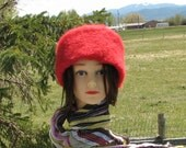 Red Alpaca Knit Felt Furry Hat Boxy Crusher