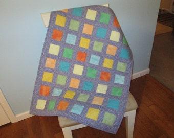Blue Green Yellow Orange Squares Purple Sashing Crib Quilt