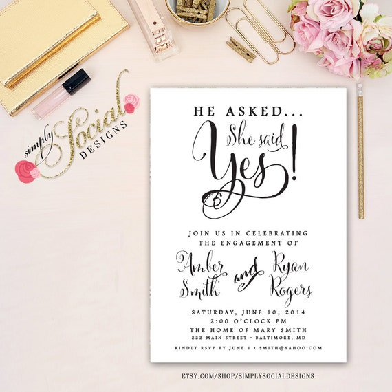 Items similar to black and white engagement party for Etsy engagement party invites