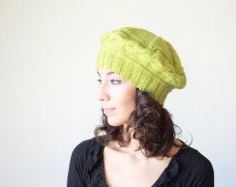 Women Knit Berets, Womens knit winter hat in pistachio green hat, Women winter beret, Warm hat beanie, Chunky winter hat, Hand knit beanie