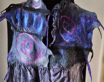 """Nuno silk scarf """"Spirals"""" black blue purple"""