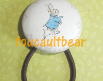 M2M Custom Boutique Peter Rabbit Beatrix Potter Button Hair Tie Ponytail Holder - handmade by foucaultbear