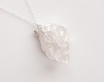Druzy Quartz Necklace in Silver - OOAK Jewelry