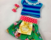 SALE waldorf  DFH Sprite outfit shirt and floral skirt for 12 doll