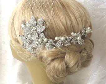 Bridal Hair Comb, Bridal Pearl Comb, Bridal hair comb  Pearl Beads-Pearl Bridal Hair Comb Rhinestone Bridal Comb Weddings