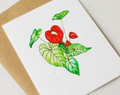Red Anthurium Card