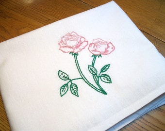 Pink Cabbage Roses Dish Towel Rose Tea Towels Stem of Pink Roses Dish Towel Hand Embroidered Dish Towel Flour Sack Dish Towel