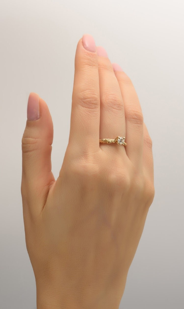 twig engagement ring 14k gold and diamond by doronmerav on