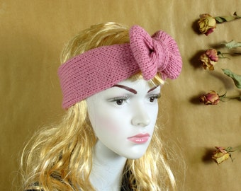 Lilac Lavender Knitted Bow Headband, Knitted Headband, Oversized Bow Headband, Cute and Cosy Ear Warmer