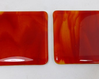 Fused Glass Coasters with fiery red and orange - set of 2