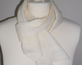 silk cream cobweb felted scarf