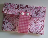 All in One Clutch - Pink Ribbon/Walla Wallat, large wallet, Breast Cancer Awareness, card/cash/ID case, vinyl wallet, snap wallet