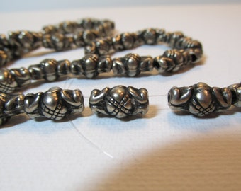 Rare Vintage Silver Thai  African Metal Bead Lot Spacer strand