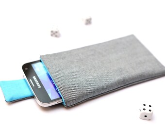 Galaxy S6 edge+, S6 edge, S6, S5, S4, Alpha case cover sleeve handmade with magnetic closure light jeans denim and blue