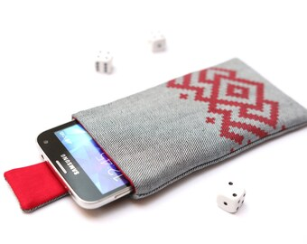 Galaxy S7 edge, S7, S6 edge+, S6 edge, S6, S5, S4, Alpha sleeve pouch case with magnetic closure light jeans with red Ornament pattern