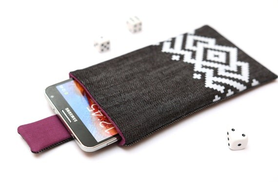 Galaxy Note 5, 4, Edge, 3 sleeve case cover pouch with magnetic closure dark jeans and purple with white ornament pattern