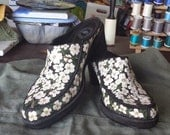 Upcycled Original Hand-painted Ladies' Clogs Shoes 8M Dogwood Blossoms on Black Suede