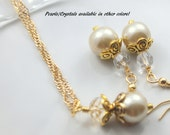 Ivory Pearl Jewelry - Ivory Pearl Earrings - Ivory Pearl Necklace - Pearl Wedding Jewelry - Pearl Wedding Earrings - Pearl Wedding Necklace