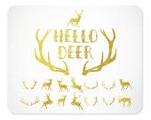 Brushed Gold Deer and Antler Clipart | Deer Silhouette | Antler Silhouette | Christmas Clipart |Reindeer | Flying Reindeer