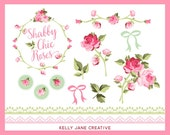 Shabby Chic Clipart |Rose Clipart | Vector Clipart | Floral Clipart | Lace Clipart | Wedding Clipart | Wedding Roses