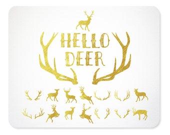 Gold Deer & Antler Silhouette Clip Art | Antler Silhouette | Christmas Clipart |Reindeer | Flying Reindeer