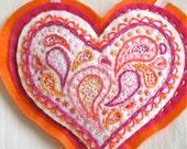 Orange Heart Pink Paisley Pin  Cushion OOAK Pincushion Valentines Day Gift Handmade 1 heart