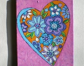 """Original Painting, Heart Painting, Pink, Blue, Flowers, Acrylic Painting, Love, Romance, Valentine's Day,  8"""" x  10"""""""