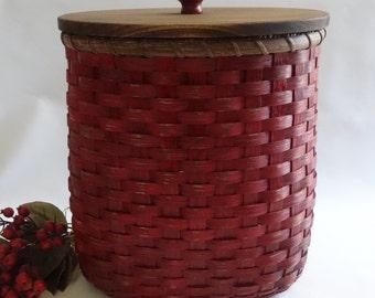Waste  Basket with Lid / Magazine Basket / Storage Basket / Organizer Basket-Primitive Style- Red