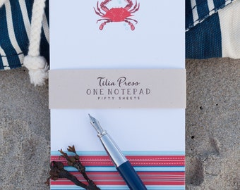 Nautical Notepad - Red Crab with stripe border