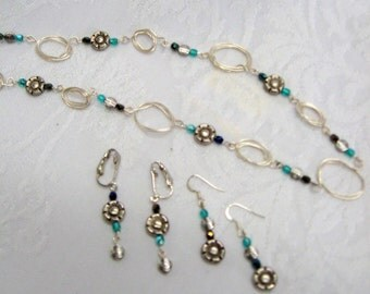 Handmade Silver Wire Necklace and Earrings