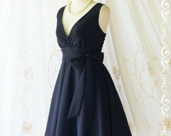Black dress black party dress black sundress vintage dress style black bridesmaid dresses solid bridesmaid dresses V neck little black dress