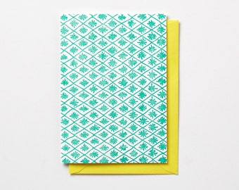 Diamond Pattern, in neon pink or neon green, folded letterpress note card