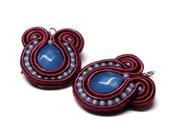 royal blue & marsala -  soutache mini earrings  free shipping