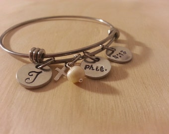 Bangle Charm Bracelet Stainless steel. customize your charms. phil. 4:13. initial charm bracelet