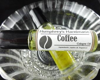 COFFEE Cologne Oil, Men's Roll On Cologne, Coffee Bean Fragrance Oil, Bpa Free Glass Bottle, Moisturizing Jojoba Oil, Java Lovers