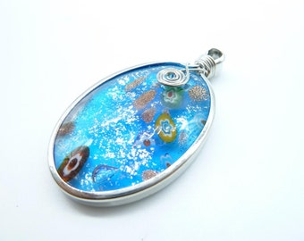 1pcs 8x36x63mm HandCrafted  Huge Blue Dichroic Fused Glass Pendant c7934