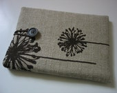 Kindle Paperwhite cover Paperwhite Kindle sleeve case Kindle cover Kindle case Kindle sleeve brown dandelion dandelions pattern print fabric