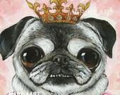 Pug Print, Pug Art, PUG LIFE,Majesty Princess,Pug Lover,Pug Poster,Marina art ,Animal Painting,Original Acrylic,Pink Roses,Cute Girl, Gift