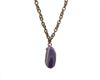 Metal Chainlink Necklace with Purple Stone Charm