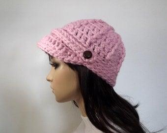 Crochet Newsboy Womens Hat Sportswear Beanie With Button Tab Visor Cap