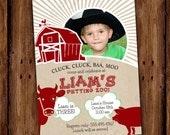 Red Barn yard Birthday Invitations - Old McDonald Barn, Farm, Petting Zoo Animals Invite - PRINTABLE or Printed Invitations