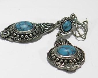 Earrings - Fish Wire Faux Turquoise Silver Tone Dangle Earring