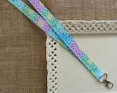 Fabric Lanyard ID -  Bursting Blooms
