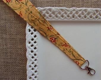 Fabric Lanyard ID -  Burnt Orange Flowers & Vines on Gold
