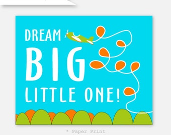 Baby Boy Print Art Nursery Decor Dream Big Little One Airplane Nursery boy art in bright turquoise, orange and lime green YassisPlace