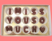 Long Distance Relantionship Love Anniversary Gift for Boyfriend Him Men Her I Miss You So Much Large Milk Chocolate Letters Cute Unique Fun