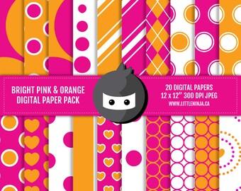 """INSTANT DOWNLOAD // Pink and Orange Digital Paper Pack // 300 dpi, jpeg, 12x12"""""""