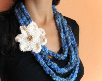 Teal and Blue Crochet Necklace with Cream Flower Brooch glass Pearls