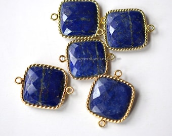 """Blue Lapis Lazuli Square Connector with Vermeil Gold """"Rope"""" Style Bezel 23x17mm"""